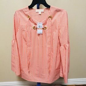Michael kors top blouse w stripes bell sleeves S